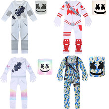 Kids cosplay Costume Boys Marshmelloing DJ Cotton Candy Costumes mask Jumpsuit Bodysuit Halloween party Costume For boy girls