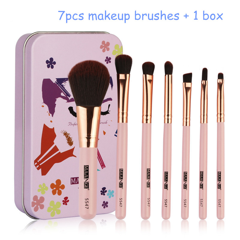 Hot Sale 7Pc/set Mini Makeup brush Set Eye Lip Face Powder Portable Travel Beauty Professional Make Up Brush Kit Soft Fiber Tool