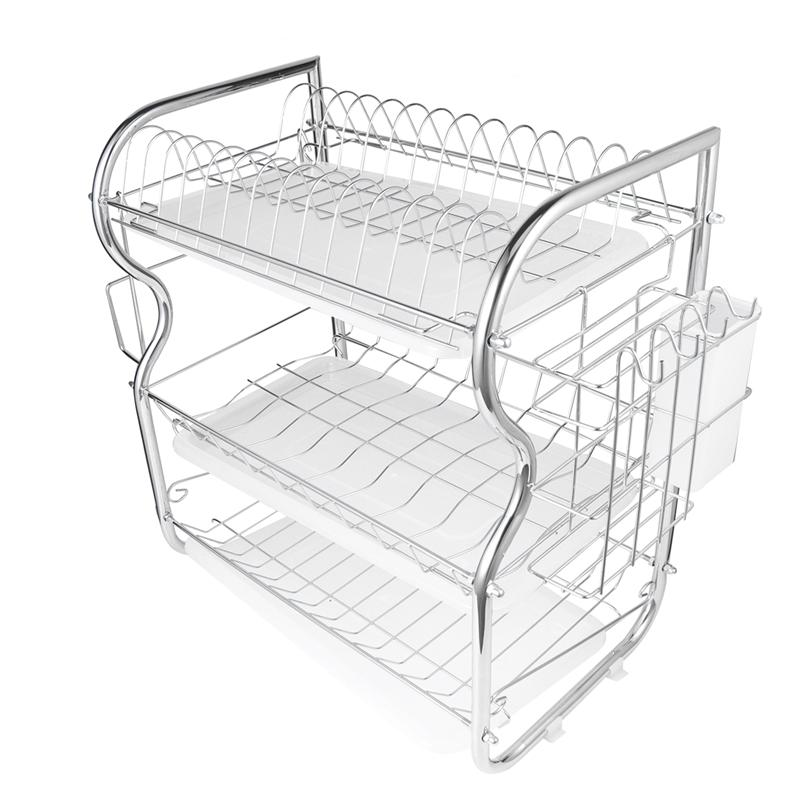 1 Pc Kitchen Cutlery Drain Rack 3 Layer Dish Drainer Iron Storage Organizer Rustproof Dishes Plates Organization Shelf