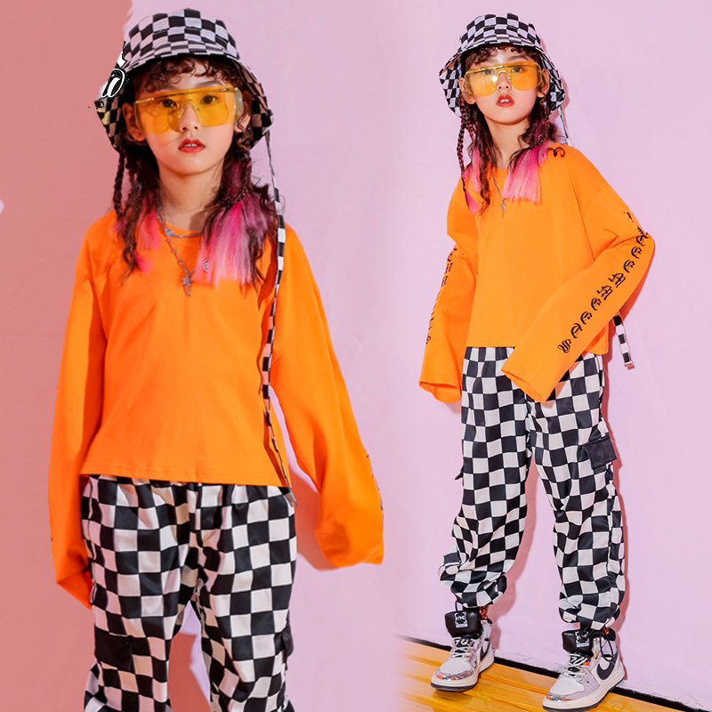 New Kids Jazz Dance Costumes Child Hip Hop Sweatshirt Pants Street Dancing Clothes Modern Ballroom Dance Stage Costumes VO218