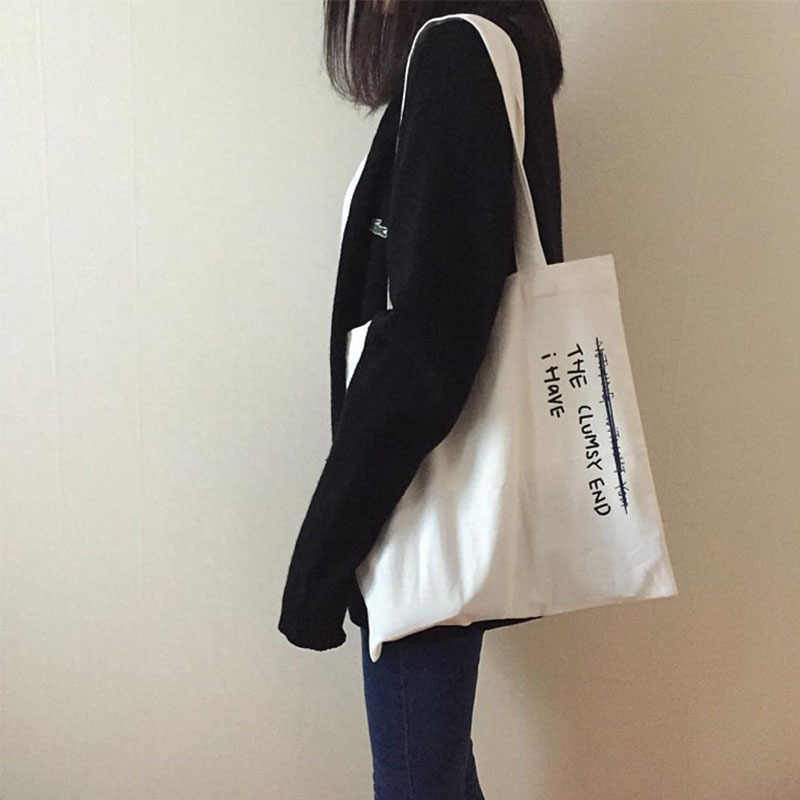 Mulheres Sacos de Lona Carta Impresso Saco de Compras de Pano Bolsa Feminina Bolsa de Ombro Ocasional Sacos Reutilizáveis Sacos de Praia para As Mulheres 2019