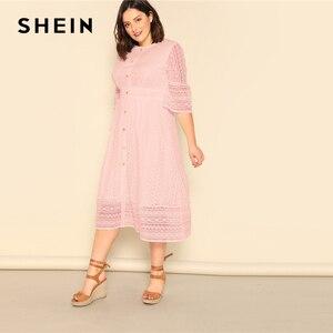 Image 5 - Shein Plus Size Dame Romantische Button Voor Lace Overlay Maxi Jurk Voorjaar Elegante Hoge Taille Half Sleeve Een Lijn Lange jurk