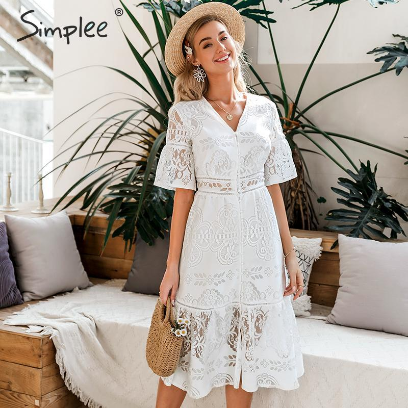 Simplee Hollow Out Lace Dress Women V Neck High Waist Ruffled Summer White Dress Lady Spring Chic Slim Fit Party Dress Vestidos