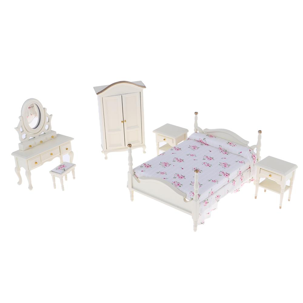 1:12 Dollhouse Miniature Bedroom Furniture Dresser Bed Closet Doll's Accessories Toy WB0087 image