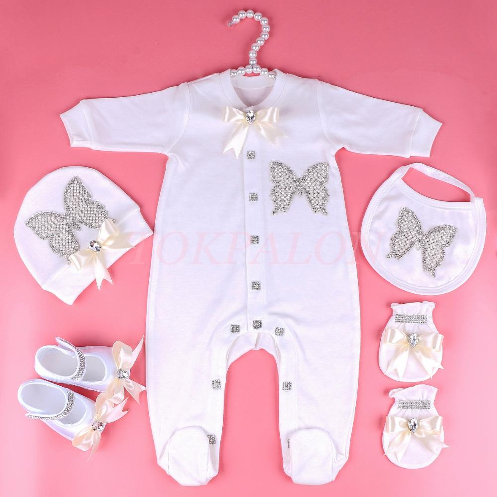 Newborn Baby Clothes Set 0-6 Month Baby Girl Boy Clothes Pearl Butterfly Jumpsuit Rhinestone Bow Pajamas Outfit Gift New 2020