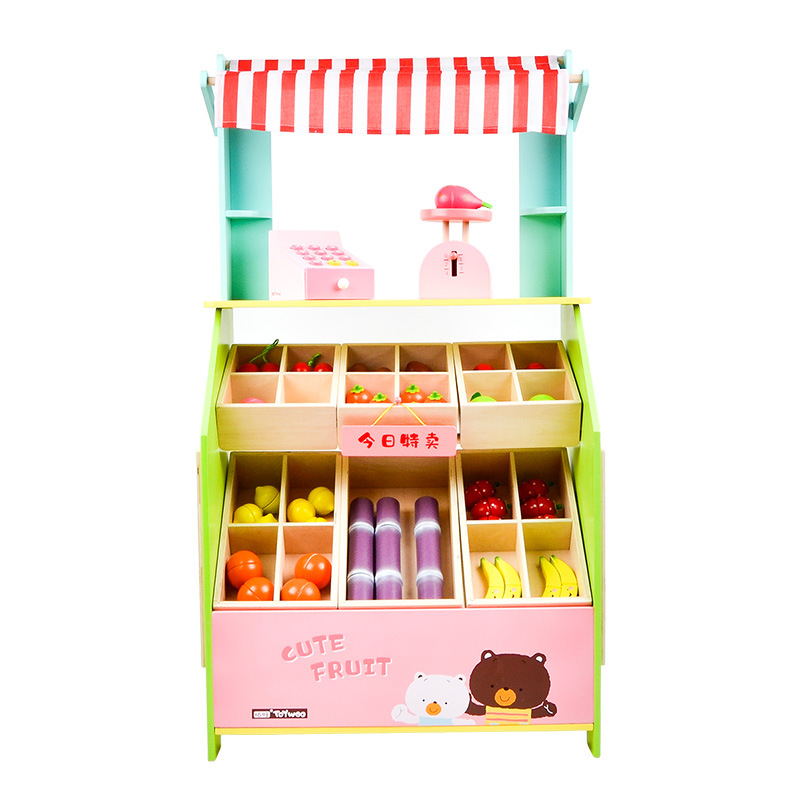 Children's Wooden Emulational Fruits and Vegetables Selling Stall Set Baby Role-Playing Wooden Playing House Kitchen Toys