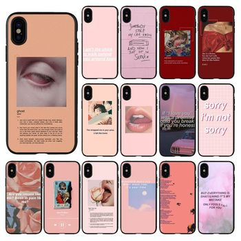 HTxian Pink Aesthetics songs lyrics Aesthetic DIY phone Case for iPhone 11 pro XS MAX 8 7 6 6S Plus X 5 5S se 2020 XR case image