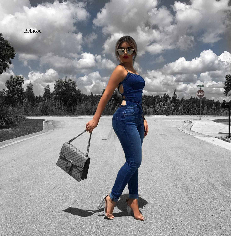 Sexy Backless Blue Denim Jumpsuit Women Casaul Sleevelss Pencil Jean Romper Women Jumpsuit Night Club Bodycon Overalls