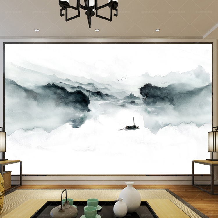 Modern Esthetic Artistic Conception Mural Glorious New Chinese Style Misty Mountains Ink Landscape Wallpaper Sofa TV Backdrop Wa