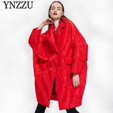 2019 Winter Red Women Oversize down jacket Thick warm Turn down collar Long down coat Loose Fashion winter jackets YNZZU YO974 cheap Zippers None Solid White duck down Full Polyester 250g-300g 1 2KG Bat Sleeved Thick (Winter) Normcore Minimalist Double Breasted