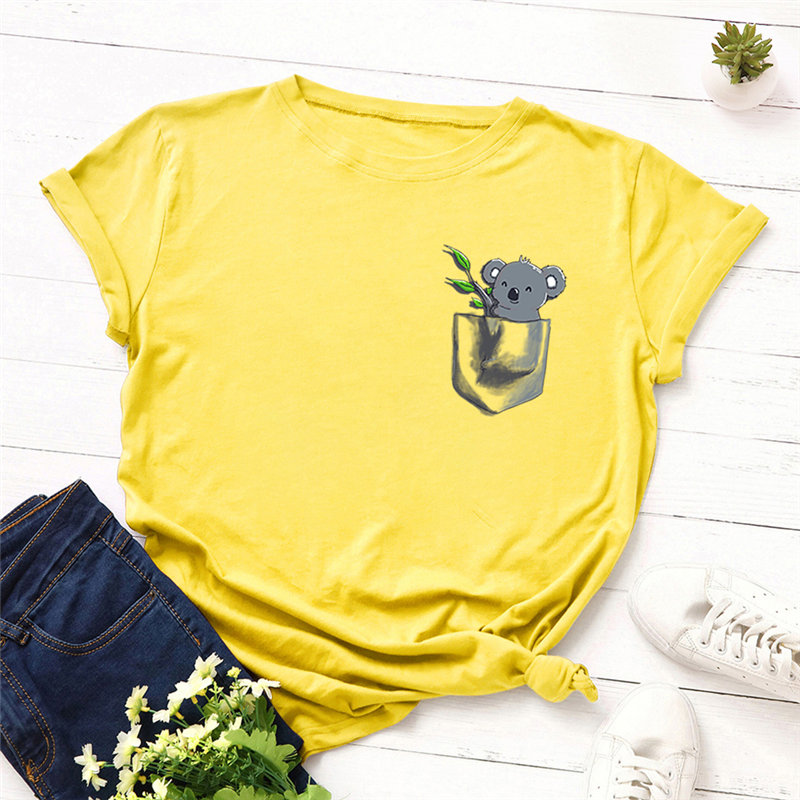 H81d6dafe7ed54e55ab546f6a52e303bdA - Women T-shirt Fashion Plus Size Cotton Top Cute Koala Print T shirt Female O-Neck Short Sleeve harajuku Tees feminina