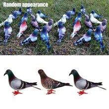 Imitação de animais de pássaro artificial 3 pçs/set, enfeite de decoração em miniatura para jardim doméstico, cores aleatórias