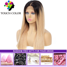 Ombre Blonde Burgundy Lace Front Wig 4x4 Brazilian Straight Human Hair Colored Long Remy lace Fronta For Women