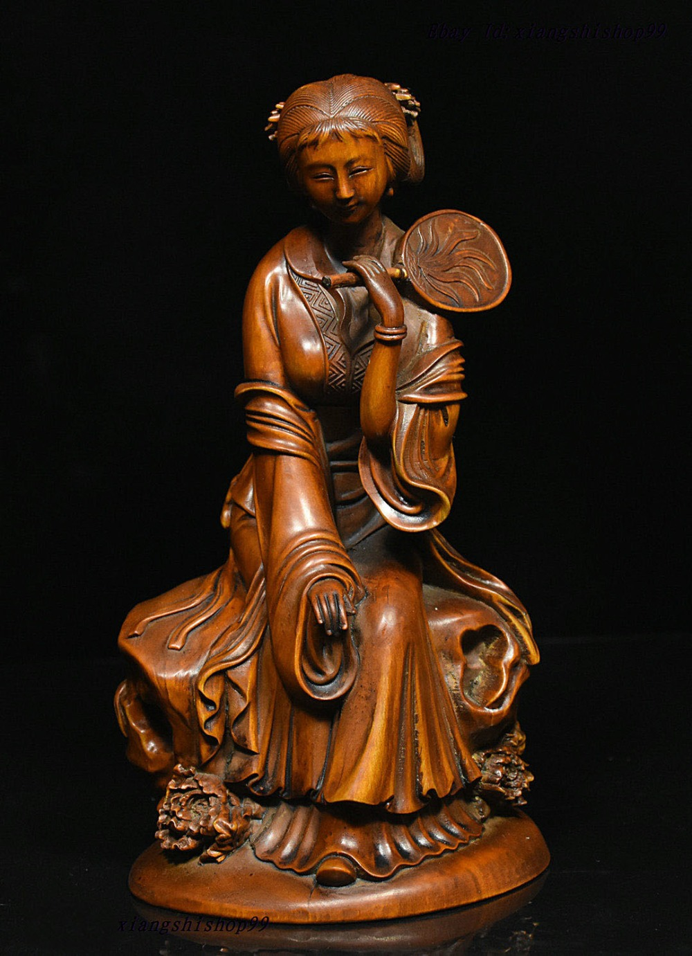 """wedding decoration 7"""" Chinses Folk collect boxwood wood carve beautiful woman hold fan belle statue"""