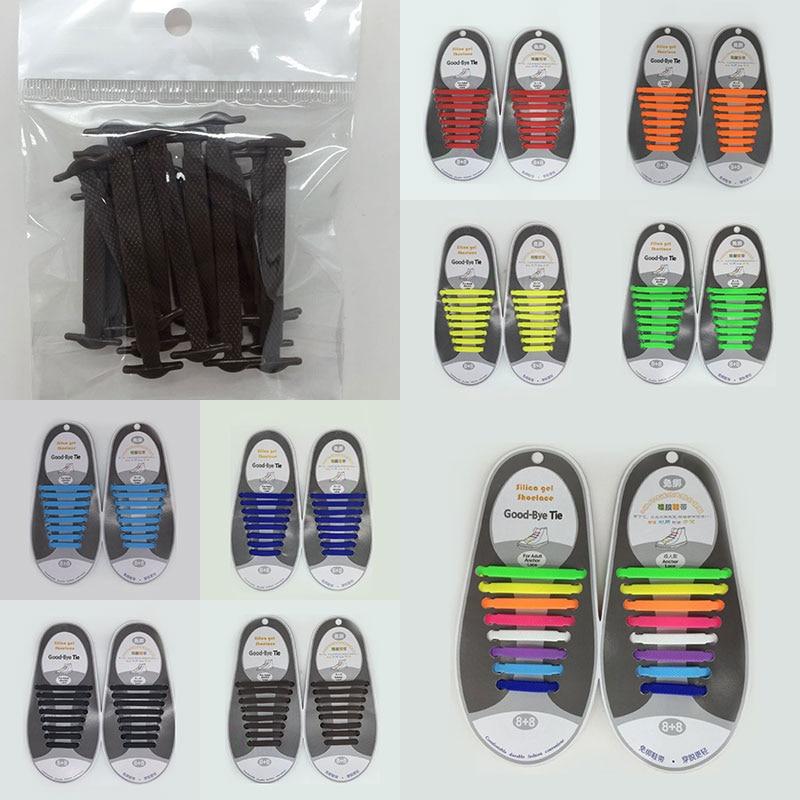 16pcs/lot Silicone Shoelace Men Women Children Lazy Elastic No Tie Shoelaces Solid Casual Canves Shoes Accessories Rubber Lace