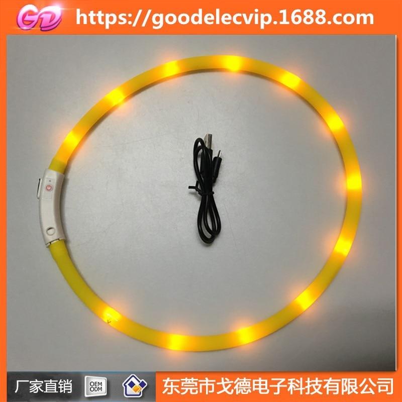 LED Pet Dog Luminous Collar USB Charging Neck Ring Night Light Dog Neck Teddy Golden Retriever Medium And Small Items