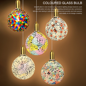 Image 2 - Classic design LED colorful light bulb chandelier mosaic color gold plated glass mirror ball chandelier