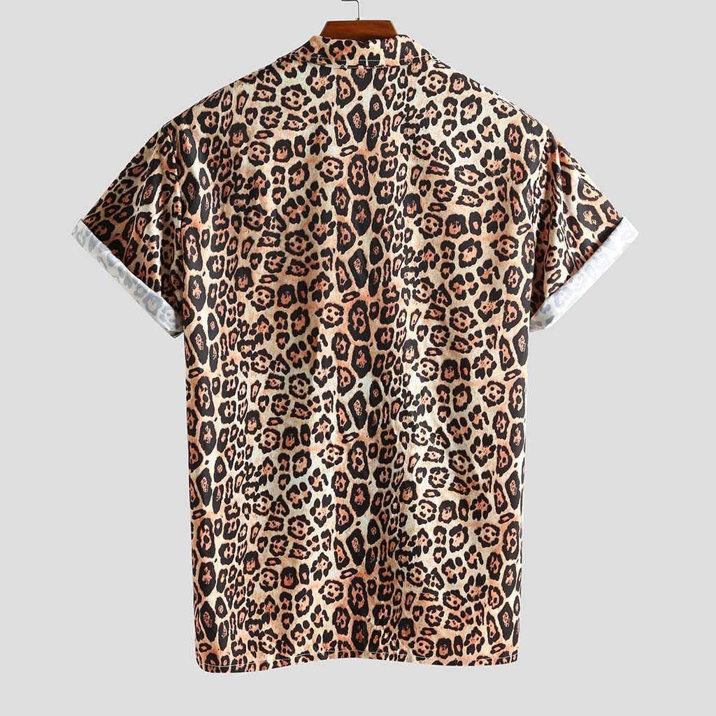 Hawajska koszula lampart mężczyźni hiphopowy sweter z krótkim rękawem koszule z nadrukiem camisa masculina wakacje dla mężczyzn koszula z guzikami 2020