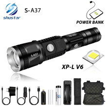 Super Bright LED Flashlight with XP-L V6 Lamp Bead Waterproof tactics Torch 5 lighting mode telescopic zoom For adventure hiking