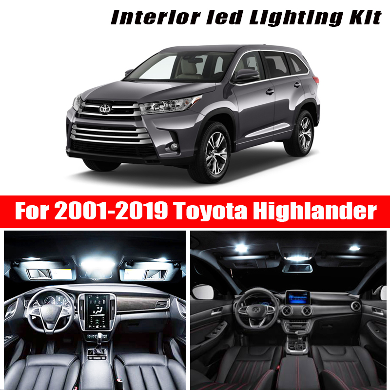 For 2001-2019 <font><b>Toyota</b></font> <font><b>Highlander</b></font> White car accessories Canbus Error Free LED Interior Light Reading Light Kit Map Dome License image