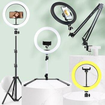 Anillo de luz LED de selfi regulable con trípode, soporte de brazo largo, luz de fotografía USB para Youtube, estudio de fotografía en vivo, lámpara de vídeo