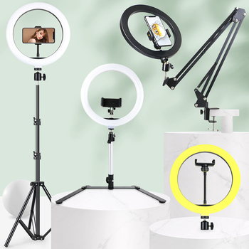 Dimmable Selfie LED Ring Light With Tripod Long Arm Holder Stand USB Photography Light For Youtube Live Photo Studio Video Lamp photography dimmable 7 inch led selfie ring light youtube video live photo studio 2800 5500k camera light usb plug with tripod