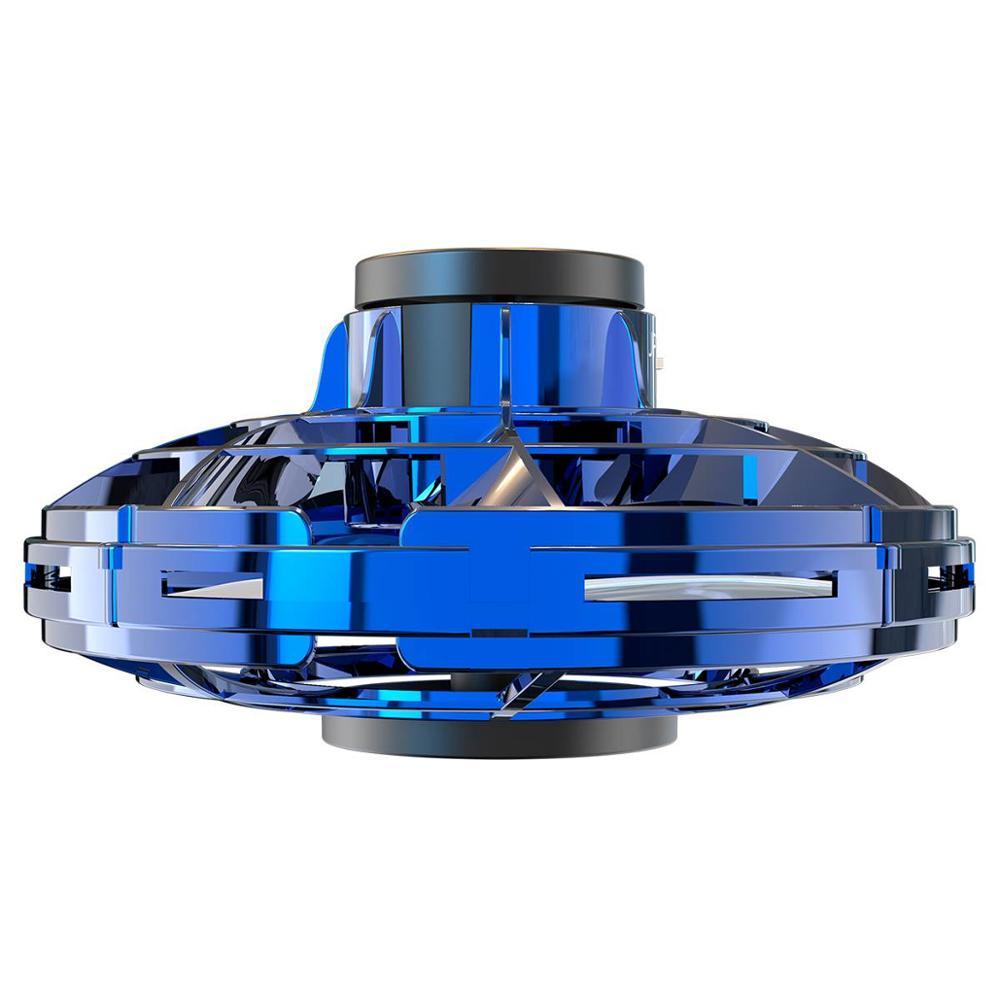 flynova Gyro rotator drone UFO fidget finger spinner Rotary Athletic antistress hand mini flying led toy child christmas gift (blue)