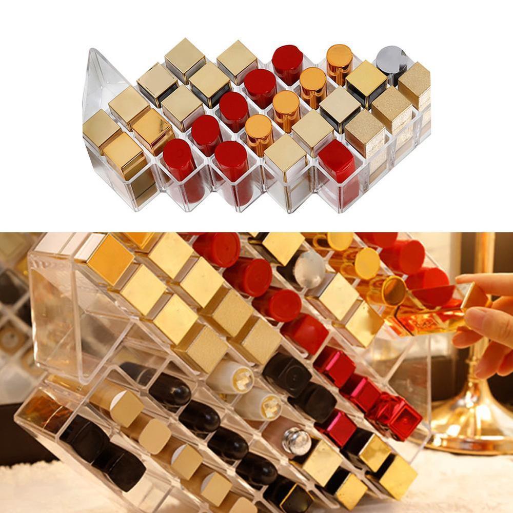 Desktop Lipstick Storage Box Acrylic Lipstick Box Dressing Table Brush Storage Box Transparent Finishing Rack