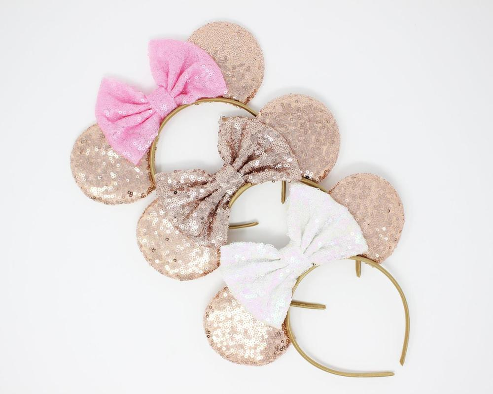 2019 New Sequin Bow Knotted Headwear Winter Minnie Halloween Headband For Girls Hair Accessories Holiday Party