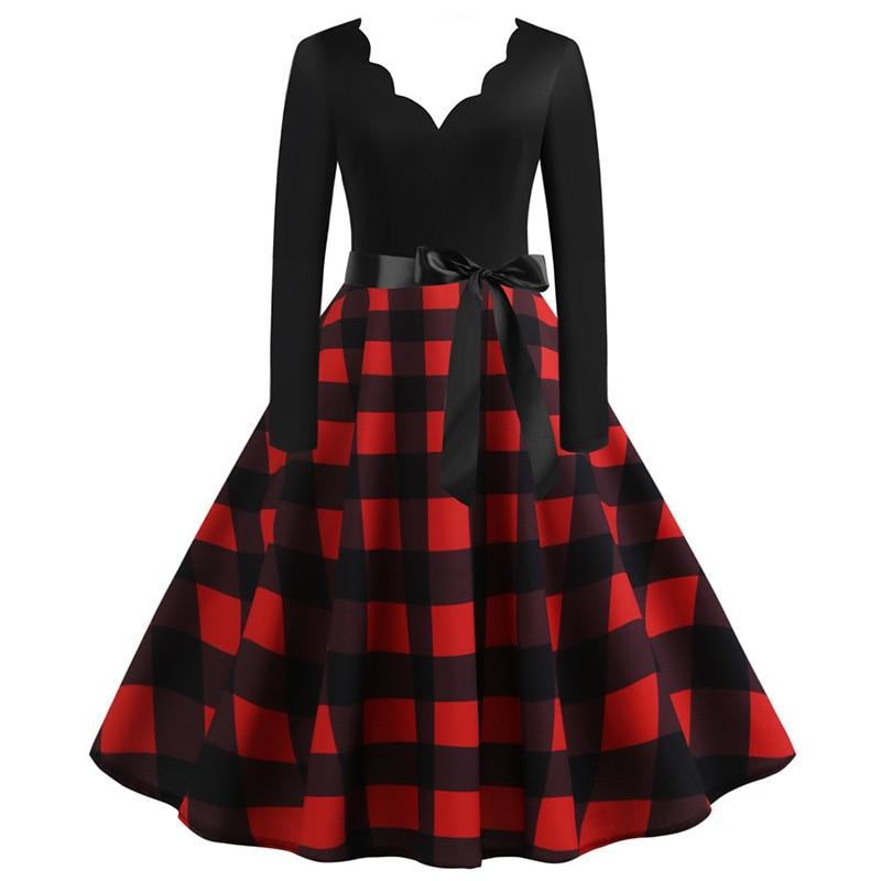Šaty s károvanou sukňou s dlhým rukávom (SWING2 style) červeno-čierne