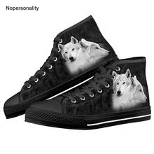 Nopersonality Black Animal Wolf Print High Top Canvas Shoes