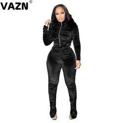 VAZN-Conjunto de ropa de ante de alta gama para mujer, pantalones largos de tela de cintura alta, ajustados, 2 piezas, 2020