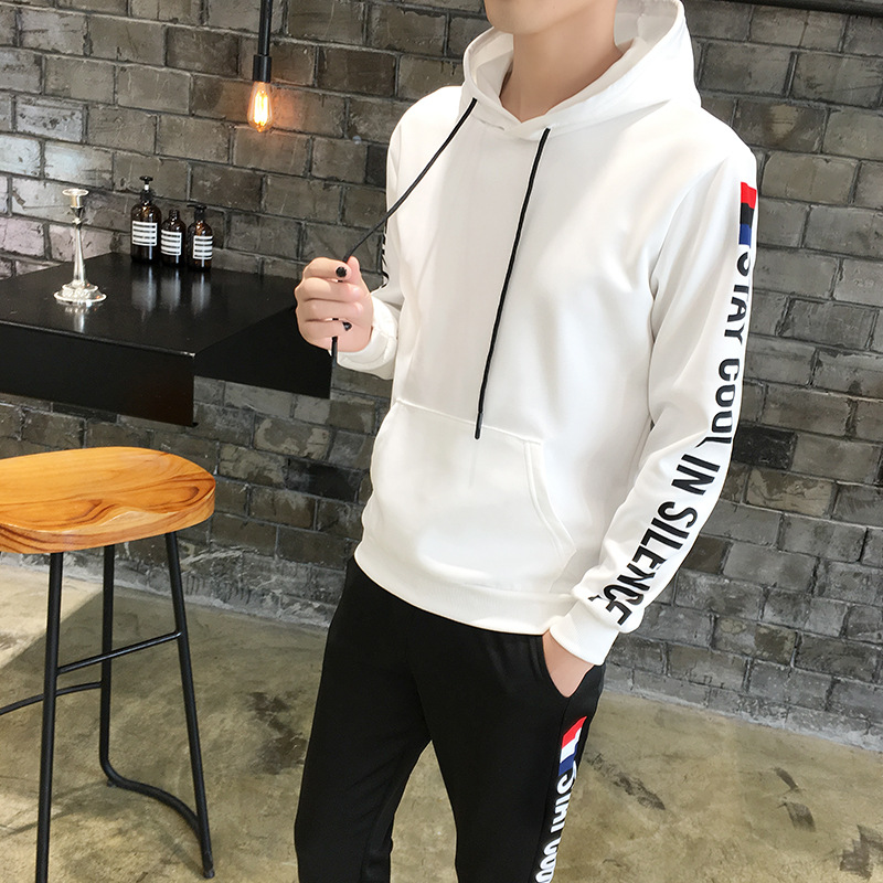 2018 New Style Hoodie Suit Men's Autumn Hooded Casual Teenager Sports Two-Piece Set Students Spring And Autumn Coat
