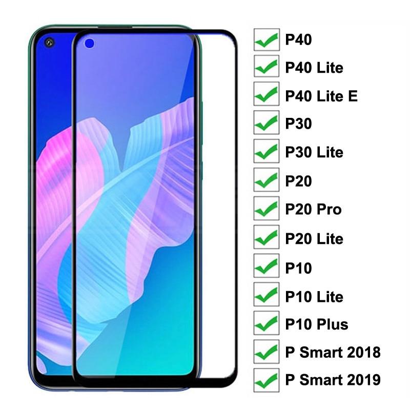 Vidro protetor 9d, para huawei p20 pro p10 plus p30 p40 lite e p smart 2019, protetor de tela temperado película de proteção de vidro