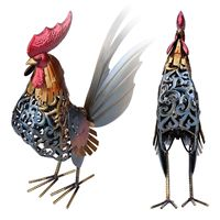 TOOARTS Carved iron rooster Metal sculpture Home furnishing articles Artwork Articles Handicrafts Home decoration