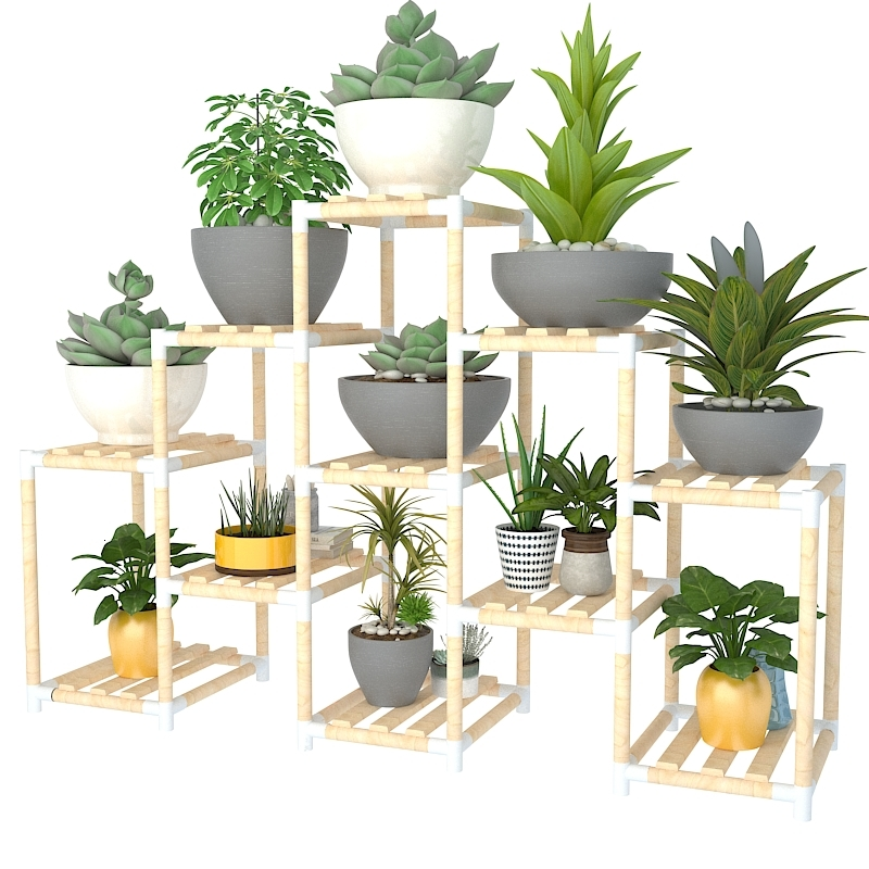 Indoor Simple And Easy A Living Room Landing Type Multi-storey Solid Wood Shelf Balcony Meaty Botany Green Luo Flowerpot Frame