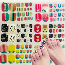 LEAMX 22tips/sheet Waterproof Toe Nail Stickers Full Cover Foot Decals Wraps Adhesive DIY Salon Manicure L526