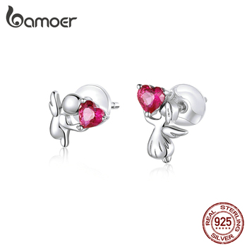 Bamoer Genuine 925 Sterling Silver Angel With Heart Stud Earrings For Women Safe Silicone Earplugs Anti-allergy Jewelry BSE367