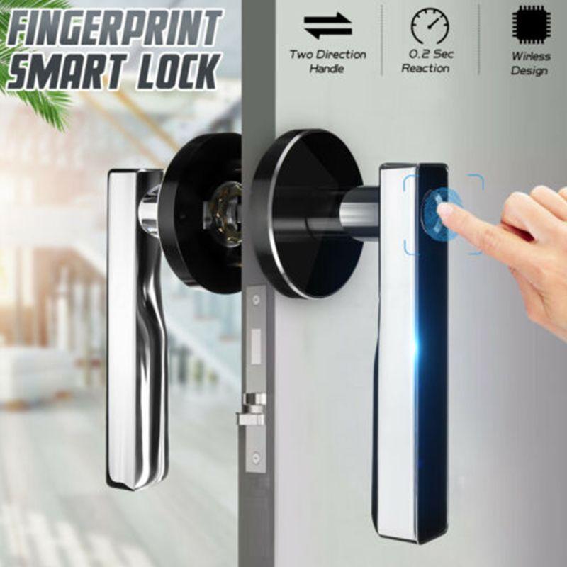 Smart Handle Lock Fingerprint Biometric Keyless Electronic Door Locks Key Stainless Steel Indoor Bedroom