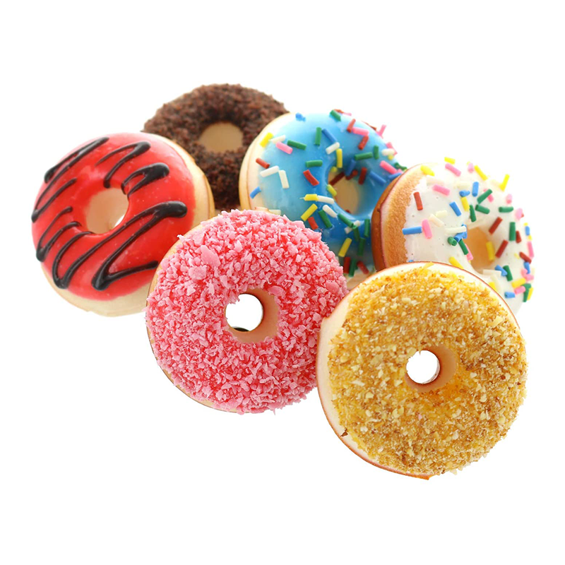 6PCS Cute Donut Squishy Squeeze Toy Stress Reliever Colourful Doughnut Scented Slow Rising Toys Lovely Kids Christmas Birthday