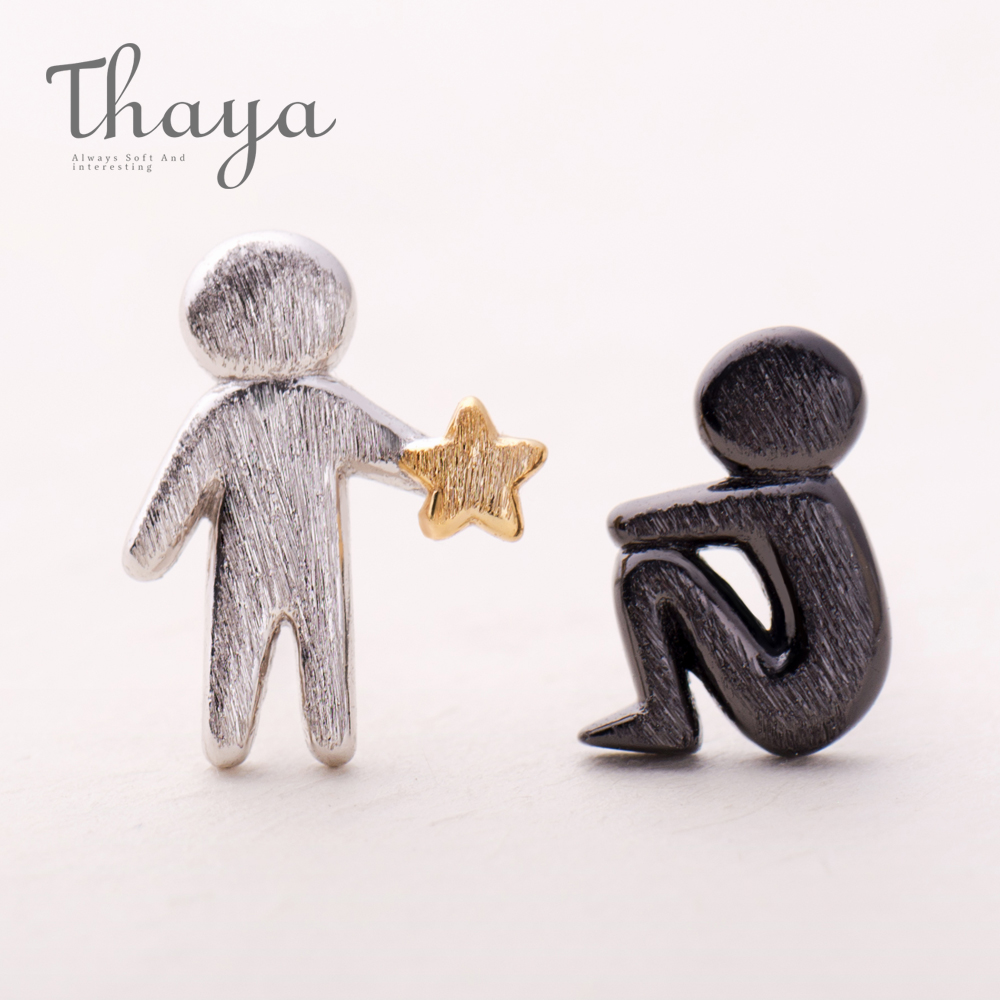 Thaya Picking Gold Stars for You Design Stud Earrings s925 Silver Asymmetry Figure Earring for Women Elegant Texture Jewelry(China)