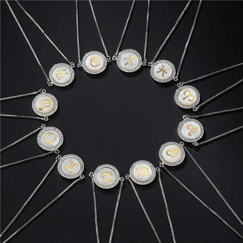 NEWBUY 2019 Mode 12 Konstellation Charme Armbänder Für Frauen Mädchen Einzigartige Design Shell CZ Armband Luxus Gold Sternzeichen Symbol