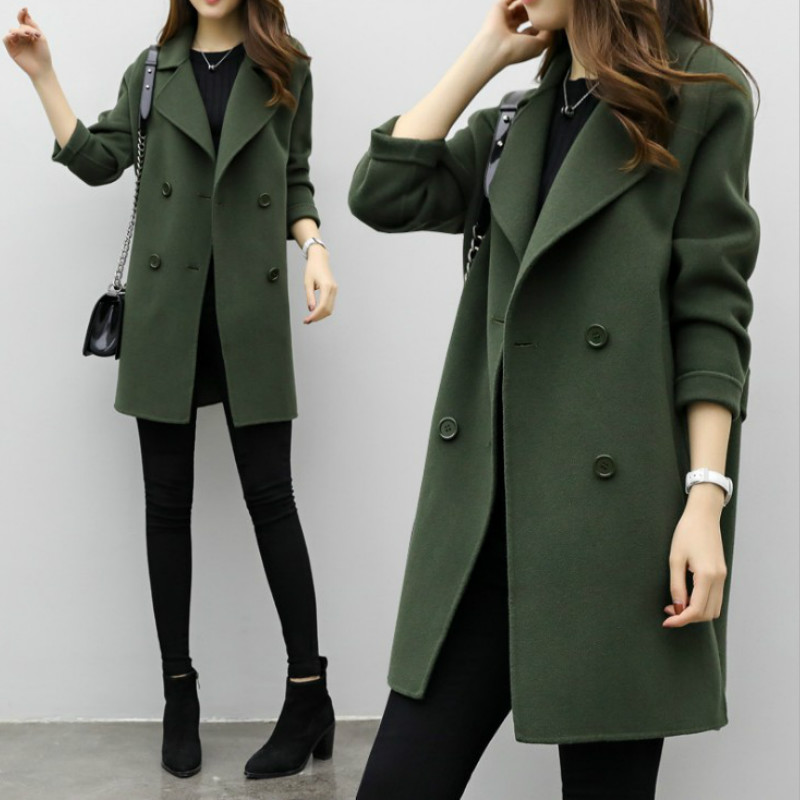Women Long Jacket Suit Autumn New Solid Color Woolen Self-cultivation Big Double-breasted Loose Size Coat Casual Fashion Blazer