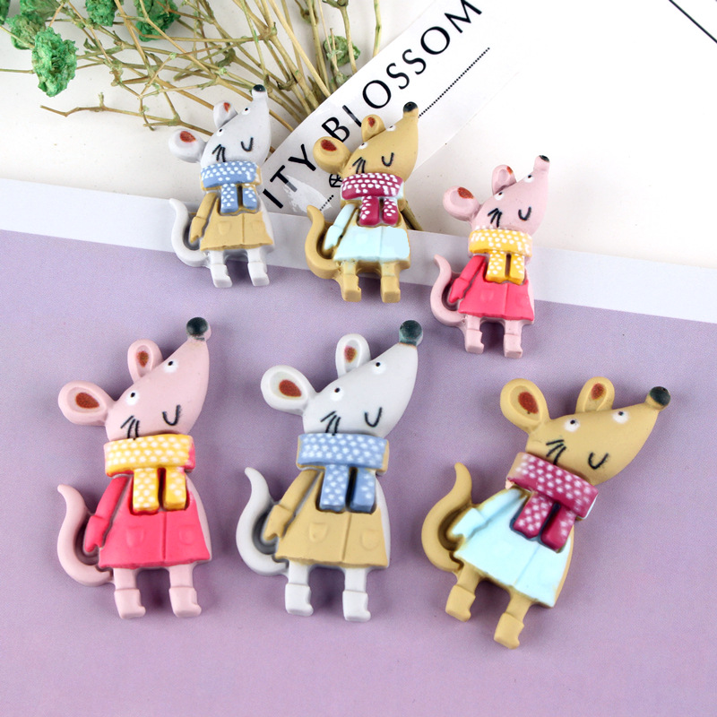 10Pcs Animal Flat Back Resin Cartoon Mouse DIY Flatback Resin Cabochons Accessories Embellishments For Scrapbooking Deco Part