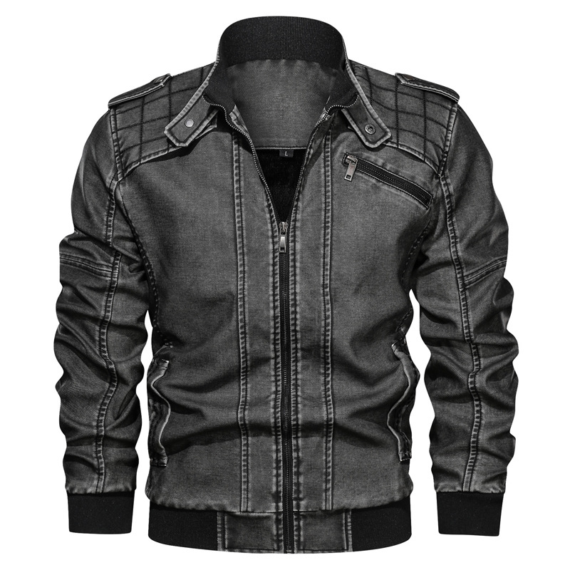 Men Jackets 2020 Men's Winter Casual Stand Collar Washed Motorcycle Jacket Coat Mens Vintage Jacket Outerwear Male jaqueta 6XL
