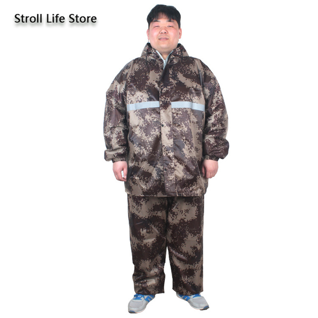 Large Plus Size Raincoat Men Hiking Fertilizer To Increase Fat Man Rain Coat Suit Adult Men and Women Thickened Double Layer 5