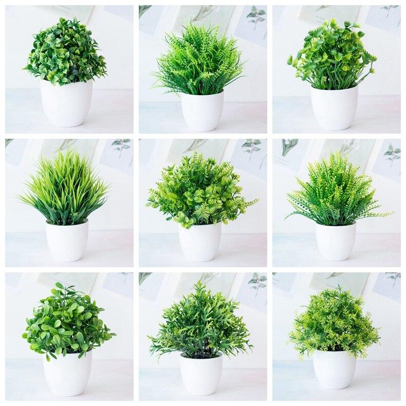 Искусственные комнатные растения бонсай зеленые маленькие деревья растения поддельные цветы украшения в горшках для домашнего декора сад...