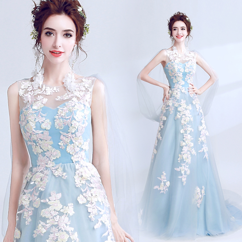 Sky Blue A line   Evening     Dresses   2019 Cap Sleeves Lace Applique Women Party Gradustion   Dress   Long   Evening   Gown Prom   Dress