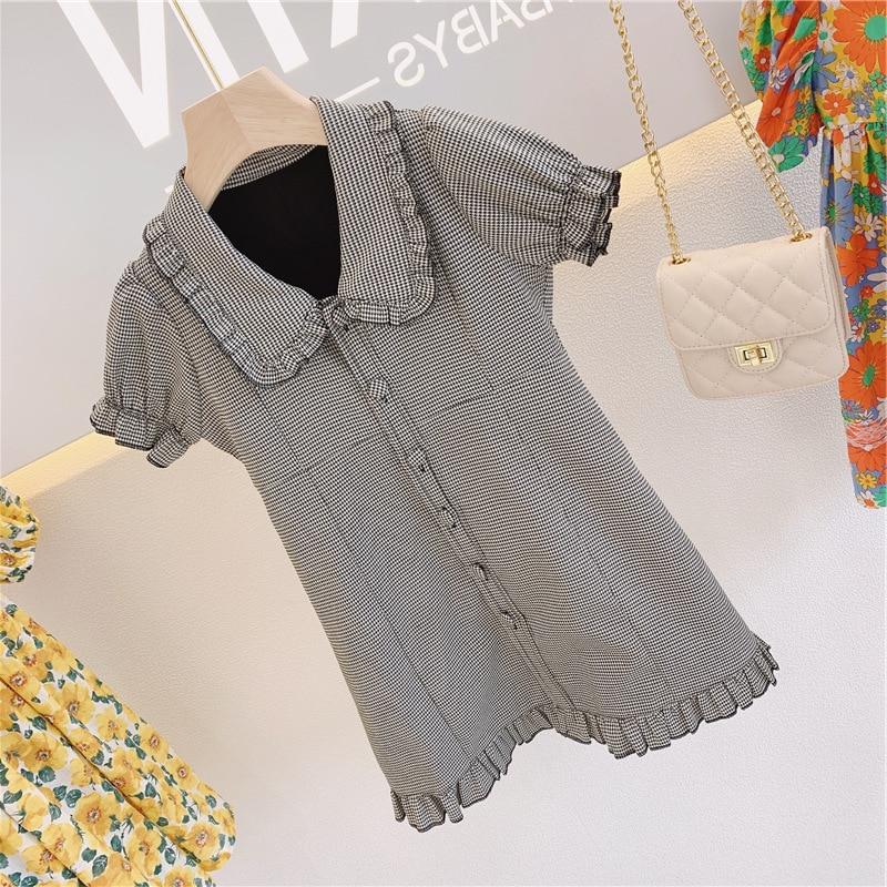 Parent enfant mère robe pour femme robe pour enfants mille oiseaux robe à boutonnage plissé 20 été nouveau