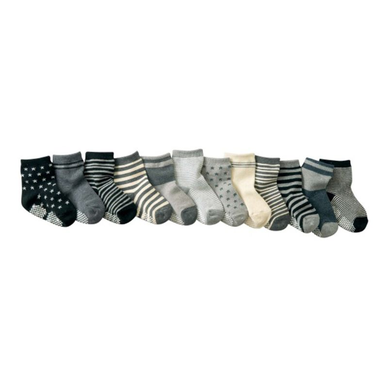 12 Pairs Baby Toddler Kid Sock Boy Girl Non Skid Anti Slip Knit Ankle Grip Sock 3
